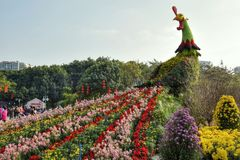 Kogut dekoracja w chińskim parku Zdjęcie Royalty Free