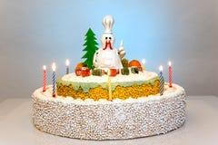 Kogut karmazynki tortowy tort, kurczaka tort, ptaka tort Zdjęcie Royalty Free