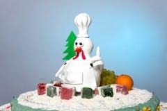 Kogut karmazynki tortowy tort, kurczaka tort, ptaka tort Zdjęcia Royalty Free