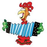 Koguta akordeonu muzyka postaci humor ilustracji