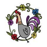 Koguta rysunek z kwiat ramą, ilustracja Obrazy Royalty Free