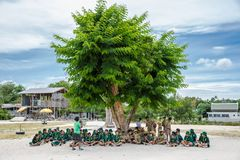 Koh νησί Samui, Ταϊλάνδη Jule 2018 Ταϊλανδικές ανίχνευση και προσκοπίνα αγοριών στις δραστηριότητες στρατόπεδων ως τμήμα της μελέ στοκ φωτογραφία με δικαίωμα ελεύθερης χρήσης
