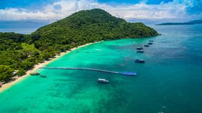 Aerial photography at Coral island. Koh Hey or Coral island is close to Phuket island 15 minits from Chalong pier.the place for snorkeling diving and water sport Royalty Free Stock Photos