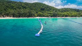 Aerial photography at Coral island. Koh Hey or Coral island is close to Phuket island 15 minits from Chalong pier.the place for snorkeling diving and water sport Stock Photos