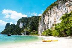 Koh Hong island bay, Andaman Sea - Thailand. Koh Hong island bay and kayak, Andaman Sea - Thailand Royalty Free Stock Photo