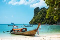 Koh Hong island bay, Andaman Sea - Thailand. Koh Hong island bay and longtail boat, Andaman Sea - Thailand Royalty Free Stock Photo
