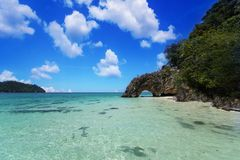 Koh Kai island and beach in andaman thailand. Sa Toon province, Thailand beautiful beach with cloud and blue sky Royalty Free Stock Image