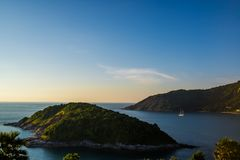 Koh Keaw Yai Island view from Leam PromThep Cape and Sea with yacht in Phuket. Amazing Thailand Royalty Free Stock Image