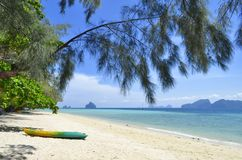 Koh Kradan beach. A beach of Koh Kradan with Koh Muk in the background, in the Andaman Sea, Thailand royalty free stock photos