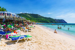 Koh Lan island beach with toursits sunbathing Stock Image