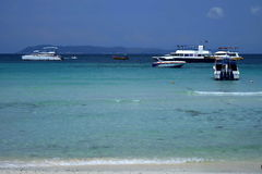 Koh Lan Pattaya. Many boats at Hard Tien Royalty Free Stock Photo