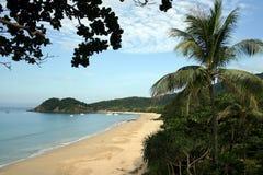 Koh Lanta beach with tourist bots Stock Photography