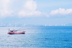 A boat in the sea. stock photography