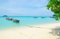 Koh Lipe in Thailand. Boat on sea and beach in lipe island at thailand Stock Photos