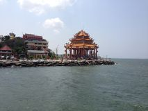 Koh Loi. Chinese temple on the island of in Sriracha Royalty Free Stock Images