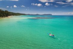 Koh mak from drone view with kayaking stock photography