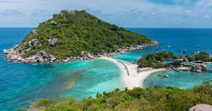 Koh Nang Yuan View Point to the Beach, Sea and tree Islands. Wide Stock Images