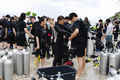 KOH NANGUAN, THAILAND -  OCTOBER 22, 2013: group of divers preparing to diving Stock Photos