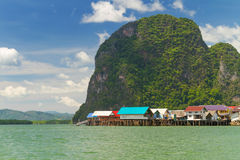 Koh Panyee settlement built on stilts of Phang Nga Bay Stock Image