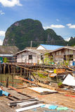 Koh Panyee settlement built on stilts of Phang Nga Bay Stock Images