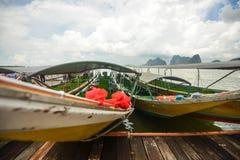 Koh Panyee settlement built on stilts of Phang Nga Bay, Thailand. Canoeing at Koh Hong IslandPhang-Nga, Thailand Thailand 21 MAY 2017 : Koh Panyee settlement Royalty Free Stock Photos