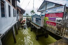 Koh Panyee settlement built on stilts of Phang Nga Bay, Thailand. Canoeing at Koh Hong IslandPhang-Nga, Thailand Thailand 21 MAY 2017 : Koh Panyee settlement Royalty Free Stock Image