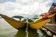 Koh Panyee settlement built on stilts of Phang Nga Bay, Thailand. Canoeing at Koh Hong IslandPhang-Nga, Thailand Thailand 21 MAY 2017 : Koh Panyee settlement Stock Photos
