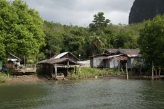 Koh Panyee - tradycyjna rybak wioska, Tajlandia fotografia stock