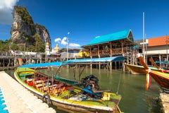 Koh Panyi Krabi. Historical floating Koh Panyi settlement, also known as Koh Panyee, muslim fishing village built on stilts of Phang Nga Bay, Krabi, Thailand royalty free stock photo