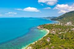 Koh Phangan island, Thailand. Panoramic aerial view of Koh Phangan island, Thailand in a summer day royalty free stock photography