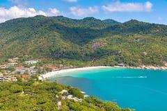 Koh Phangan island, Thailand. Panoramic aerial view of Koh Phangan island, Thailand in a summer day stock photography