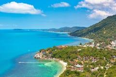 Koh Phangan island, Thailand. Panoramic aerial view of Koh Phangan island, Thailand in a summer day royalty free stock images