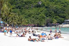 People rest on the island of Koh Phangan in Thailand stock photo