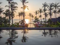 Koh Phangan, THAILAND - 15 March 2017 - Luxury resort sunset vie royalty free stock photo