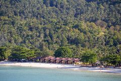 Tropical beach and sea water waves on island Koh Phangan, Thailand. KOH PHANGAN, THAILAND - MARCH 15, 2018 : Thong Nai Pan Noi beach and sea water waves. Koh Stock Photography