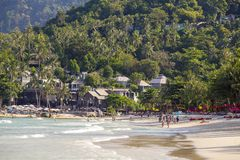 Tropical beach and sea water waves on island Koh Phangan, Thailand. KOH PHANGAN, THAILAND - MARCH 15, 2018 : Thong Nai Pan Noi beach and sea water waves. Koh stock images