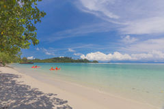 Koh Phayam beach with blue sky Stock Photos