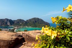 Koh Phi Phi Don. Amazing view from the viewpoint. stock photography