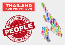 Koh Phi Don Map Population Demographics e filigrana Textured ilustração do vetor