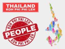 Koh Phi Leh Map Population Demographics e selo do Grunge ilustração royalty free