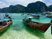 Koh phi phi boat trip island. Thailand island the beach stock photo