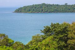 Koh Pos Resort on drone view in sihanoukville province. The Koh Pos Resort, a tranquil island with its white sand, is located 1 km away from the beach. Most of royalty free stock photo