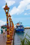Boat to Koh Pos Resort in sihanoukville province. The Koh Pos Resort, a tranquil island with its white sand, is located 1 km away from the beach. Most of the royalty free stock photography