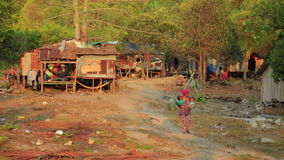 KOH RONG,CAMBODIA - MARCH 2014: tranquil village houses,rural life stock footage