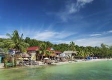 Koh rong island beach bars in cambodia Royalty Free Stock Photo