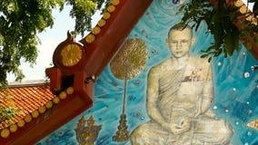 Koh Samui, Таиланд - 13-ое июля 2018: Wat Khunaram буддийский висок Портрет короля Bhumibol Adulyadej Его Величество