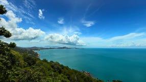 Koh Samui East Coast. A panorama view of the Koh Samui east coast with a cloudy blue sky stock photos