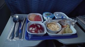 Delicious and varied breakfast on board the Bangkok Airways stock footage video stock footage