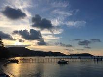 Sunset at pier. Koh Samui , sunset at pier , traveling Royalty Free Stock Image