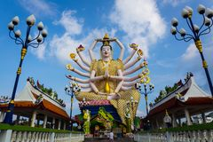 Koh Samui Thailand, Chinese God statue Guanyin at Wat Plaileam t. Emple stock photos